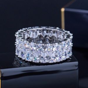 NEW! Silver Cubic Zirconia Ring Wedding Band